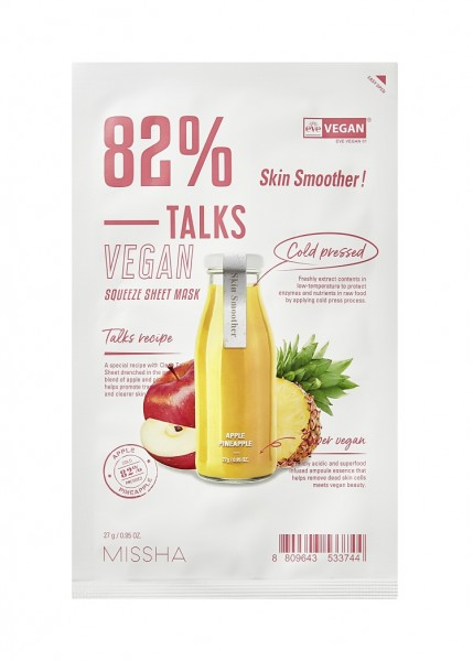 MISSHA Talks Vegan Squeeze Sheet Mask Skin Smoother